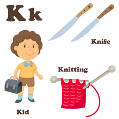 Alphabet K letter.Knife,Knitting,Kid