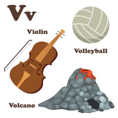 Alphabet V letter.Volcano,Volleyball,Violin