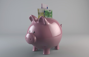 Piggy Bank with Falling Coins - Stock Image
