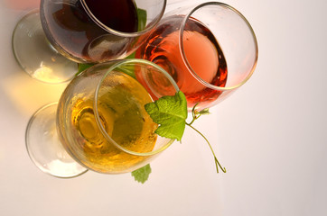 wine glasses - red white and rose wine - leaves for background