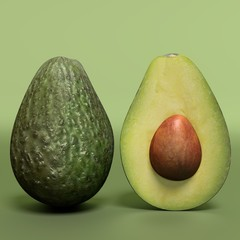 3d illustration of an avocado