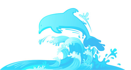 Jumping dolphin out of water vector
