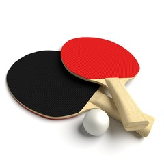 3d illustration of ping pong paddles