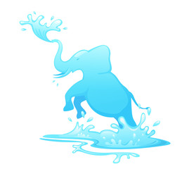 Jumping elephant out of water vector