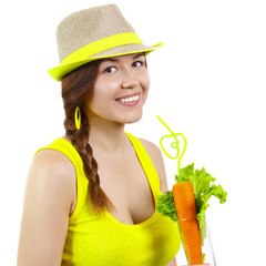 Portrait of a girl with vegetable juice on white background