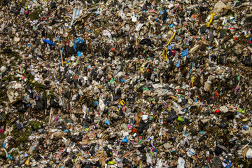 View of a massive trash dump site, result of the human activity.