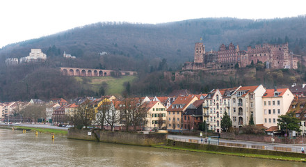 The cityscape of Heidelberg city with River Neckar and Heidelber