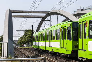 Tram on bridge