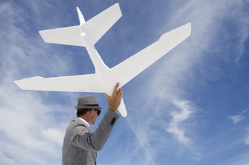 Entrepreneur Businessman Flying White Airplane Into Sky