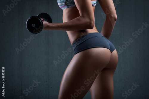 Poster Fitness Very sexy young beautiful ass in thong. Beautiful athletic woman