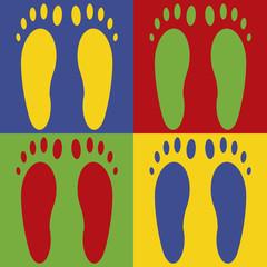 Paires  de pieds multicolores