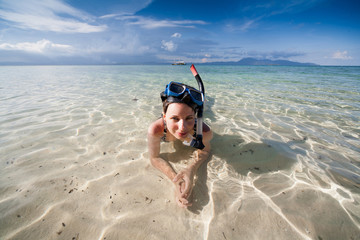 woman snorkeling in the tropical sea