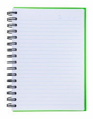 Green cover of notebook