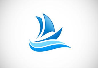 yacht boat ocean vector logo