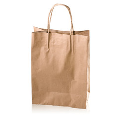 brown kraft paper bag with copy space on a white : Clipping path