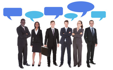 Multiethnic Business People With Speech Bubbles