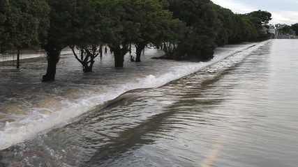 Set collection montage,Flood, Water flow over road.