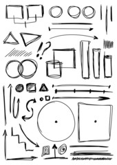 Doodle set hand drawn line and shapes