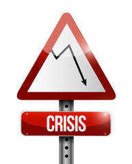 crisis street sign business graph illustration