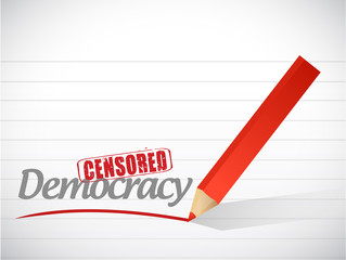 censored democracy sign illustration design