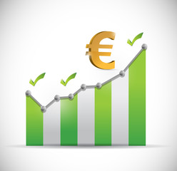 euro business graph illustration design
