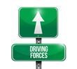 driving forces street sign illustration design