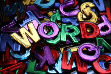 """Schillernde Buchstaben mit dem Wort """"Word"""""""