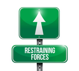 restraining forces street sign illustration design