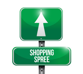 shopping spree street sign illustration design