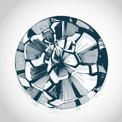 Abstract cracked futuristic ball vector - future matrix symbol