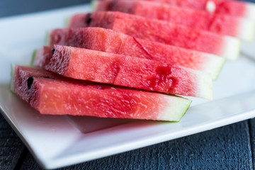 juicy, sweet slices of watermelon on a white background
