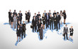Multiethnic Business People Standing On World Map