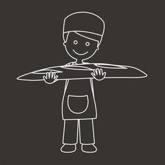 Panadero con barra de pan líneas fondo oscuro