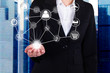 Businesswoman Holding Linked Virtual Icons