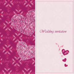 Wedding invitation card with decorative hearts