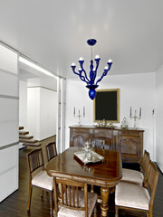 interior of dining room furnished with old furniture