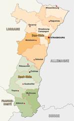 Elsass, administrative Karte
