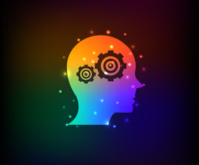 Engine brain symbol,Rainbow vector