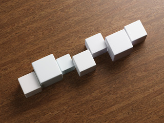 White cubes on table