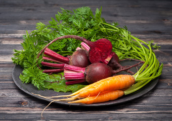 Beets and carrots with leaves