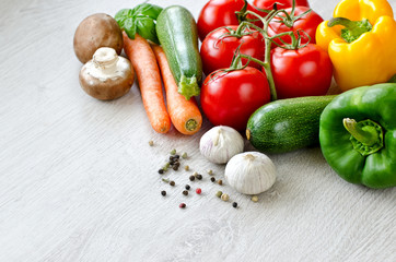 Various fresh vegetables ingridients for cooking copy space