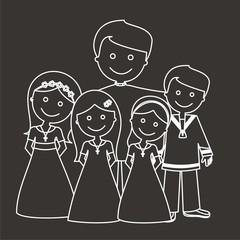 Sacerdote con los niños de comunión líneas fondo oscuro