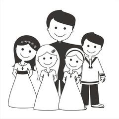 Sacerdote con los niños de comunión BN