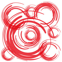 red brush circles on white background vector