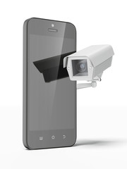 Security camera and smartphone