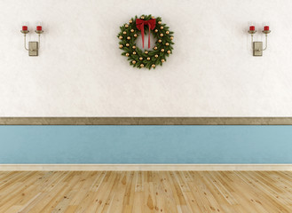Empty vintage room with wreath