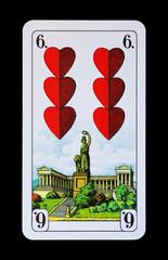 Spielkarten Denkmäler - Herz Sechs - München Bavaria