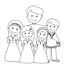 Sacerdote con los niños de comunión líneas