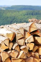 Scheitholzstapel vor Wald