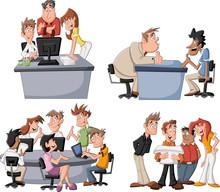 Szczęśliwi ludzie biznesu pracy na biurze kreskówka
